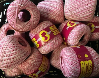 6 Spool Lot South Maid 1005 Mercerized Cotton Crochet Thread 15 Shaded Pinks