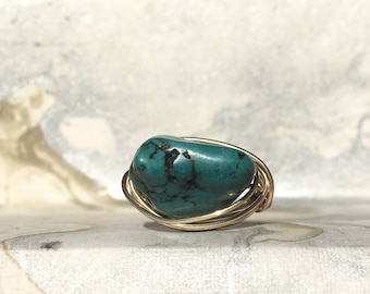 Gold Plated Wire Wrapped Ring With Turquoise Stone, Statement Ring, Gold Ring, Wire Wrapped Ring,