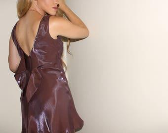 The Iridescent Mini Dress / vintage 90s purple metallic shiny dress / open back tie back babydoll dress / clueless style dress / mini dress