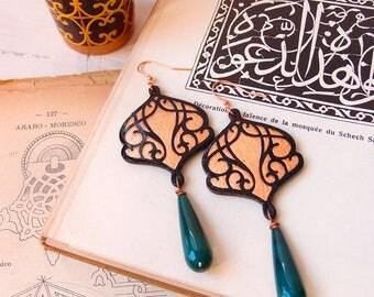 Gorgeous dangle earrings COPPER SAMAR GREEN, moorish design paper earrings, hand carverd paper dangle, lightweight paper earrings