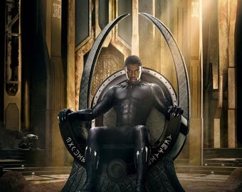 "Black Panther Movie Poster  - Chadwick Boseman - 2017 Marvel Comics Film Print -  Size 13x20"" 24x36"" 27x40"" 32x48"""