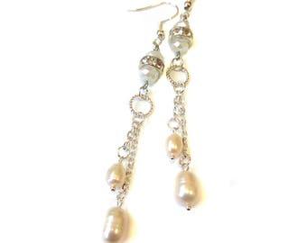 Pearl delicate earrings White pearl crystal earrings Chain dangle pearl earrings Bridal pearl silver earrings Under 20 dollars