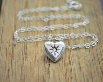 Diamond Mothers Necklace, Silver Heart Necklace, Diamond Necklace, Dainty Heart Necklace, Mothers Diamond Necklace, April Birthstone, April