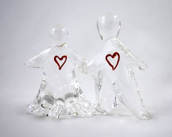 Forever Fused- hand sculpted glass man & woman holding hands, transparent, clear, sculpture, 1 of a kind, wedding cake topper, gift of love