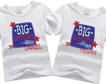 Personalized big brother shirt. Sibling shirt set. Big brother again, big sister finally. Custom sibling shirt SET OF 2. Big brother