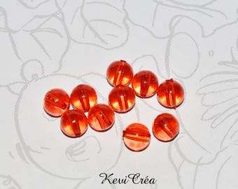 20 x 8mm red transparent acrylic beads