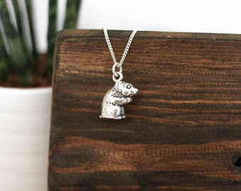 Hamster Silver Necklace • Mothers Day present gifts for mum wife girlfriend, rodent, pet, animal, charm, sterling silver, cute, quirky
