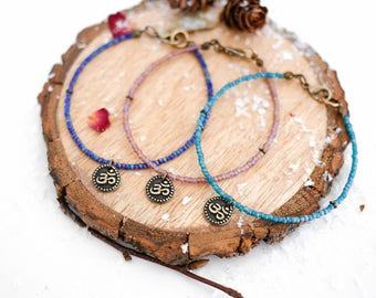 Om Yoga Bracelet • Boho jewellery, easy to wear, gifts for her wife girlfriend, blue, turquoise, meditation, Valentines present, jewelry