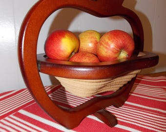 Vintage french wooden collapsible fruit bowl, basket. spiral cut wood, concertina, mid century