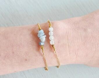 Aquamarine bracelet - Aquamarine beaded bar bracelet - Blue gemstone bracelet - Genuine aquamarine bead bracelet - March birthstone bracelet
