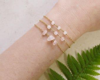 Rose quartz love stone bracelet. Rose quartz bracelet. Boho bracelet. Healing bracelet. Beaded bracelet. January birthstone bracelet.