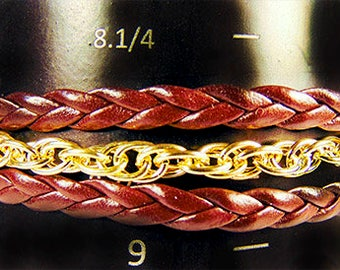 LEATHER - CHAIN BRACELET, leather bracelet, gold chain bracelet, men's bracelet, toggle clasp, leather jewelry, chain jewelry, men's - 1858M