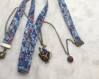 Liberty Blue & red Alice rabbit necklace