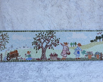 "Painting ""Garden Scene"" naïve micro mosaic with landscape in the background"