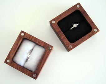 Engagement Ring box. Ascetic design ring box. Walnut wood ring box.