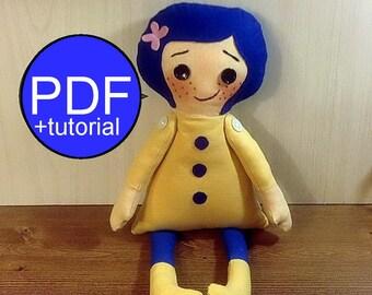 Cloth doll pattern soft doll pattern rag doll pattern Coraline doll sewing pattern DIY doll tutorial PDF doll pattern fabric doll pattern