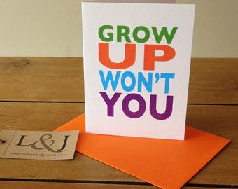 Funny Greeting Card For Sister   Brother Birthday Card   Best Friend Card   Funny Cards   Card For BFF   Funny Birthday Card   Grow Up