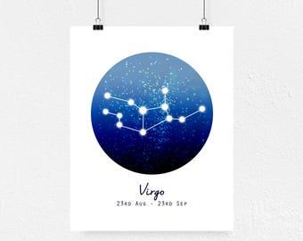 Virgo Print, Virgo Art, Personalised Print, Constellation Art, Minimalist Wall Art, Ombre Print, Astrology Art, Zodiac Print