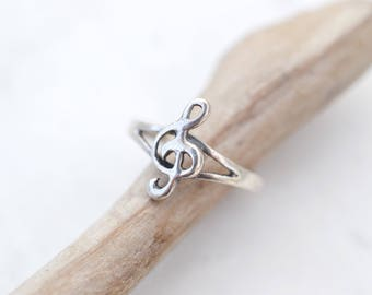 Sterling Silver Music Note Ring, Music Note Pinkie Ring, Sterling Silver Music Note Jewelry, Music Lover Gift, Music Gift, Music Jewelry