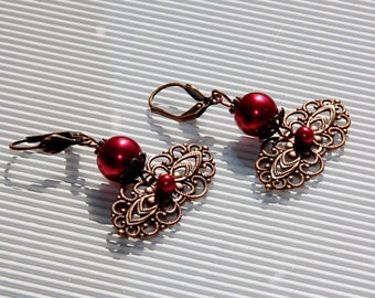 Earrings red mother of pearl, copper metal finishes