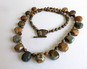 Gemstone Necklace, Beaded Necklace, Jasper Necklace, Earthy Necklace, Rustic Necklace, OOAK, Gemstone Jewelry, Brown Green Necklace, Nugget