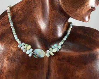 Peruvian Blue Opal Necklace/ beautiful/ colorful/ gemstone/ necklace/ Nature Art/ jewelry