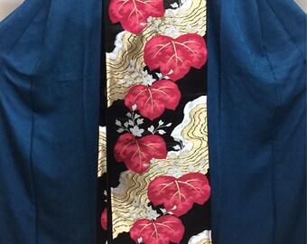 "OBI Fukuro obi ""red paulownia and water flow ""Nishijin brilliant fabric black satin Japanese kimono obi good condition"