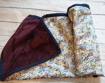 Baby Girl Cotton and Minky Blankie/Plum and Burgundy/Floral/31x35/batted