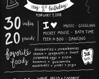 First birthday milestones chalkboard print