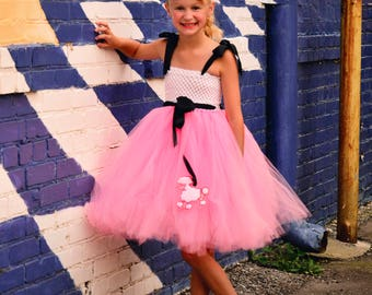 Pink Poodle Tutu Dress, Girls Tutu Dress, Baby Tutus, Poodle Skirt, Halloween Costume, 1950's Theme, Girls Costume, Poodle Dress
