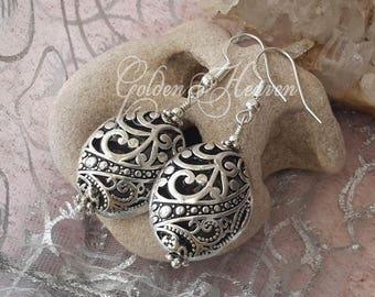Tibetan filigree earrings Tibetan Silver earrings Antique silver earrings Oval 925 sterling silver hooks cute gift Jewelry gift for her