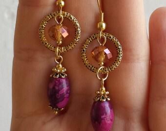 Agate earrings Bohemian pink earrings Long pink earrings gold crystal earrings dangle Long boho earrings pink Agate jewelry