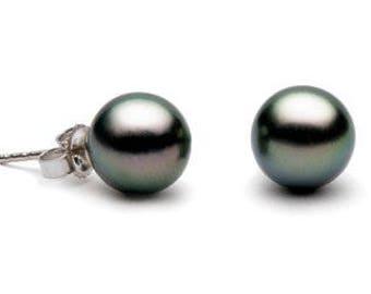 Paire de boucles d'Oreilles de perles de culture de Tahiti 9 à 10 mm