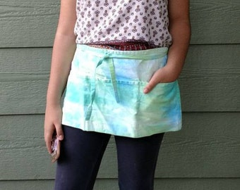 Tie dye half apron green tones apron gardening apron tool apron gift for her