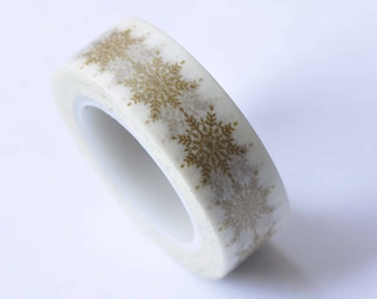 Gold Snowflake Tree Leaf Masking Washi Tape 15mm x 5M No.12749