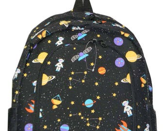 Outer Space Print Monogrammed School Backpack
