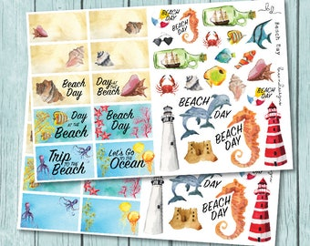 Beach Day Stickers, Watercolour Beach Stickers, Oceanside Vacation, Beach Trip, Decorative Planner Stickers