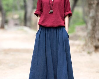 2017 new summer cotton and linen skirts – Simple retro long skirt