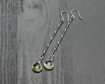 Lemon quartz long bar earrings, rope earrings, braid earrings, silver quartz earrings, stick earrings, boho silver earrings, handmade silver