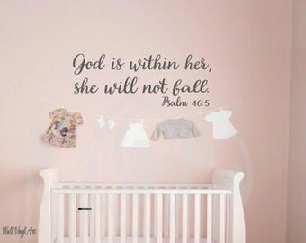 God is within her, she will not fall Psalm 46:5, KJV WallVinylart, Scripture decal, Vinyl Decal, Vinyl lettering, Wall Art, Wall decor,