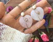 Crystal Heart necklace, Rose quartz necklace, rose quartz heart, heart chakra, Love stone, heart stone, mothers day