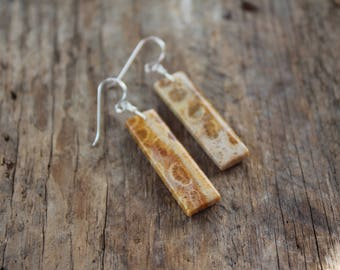 Indonesian Fossil Coral Stone Earrings- Silver