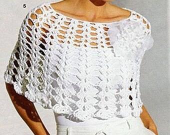 Handmade crochet wedding poncho cardigan blazer tunic jumper women crochet clothes MADE TO ORDER