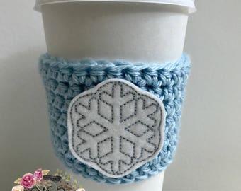 """The """"Snowflake"""" Cozies / Coffee Cozie / Tea Cozie / Tumbler Cozie / Crochet Cozie"""