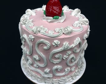 6 Inch Pink Strawberry Scroll Cake #2 Version