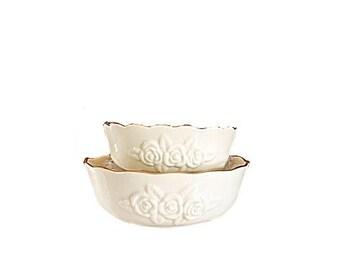 Lenox Rosebud Bowl, Lenox Cereal Bowl, Rosebud Lenox, Lenox, Lenox Nesting Bowls, Raised Porcelain Bowl, Lenox China, Lenox Bowl, Lenox Rose