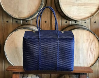 LARGE Oaxaca Bag, Woven Plastic Bag, Mexican Bag, Dark Blue