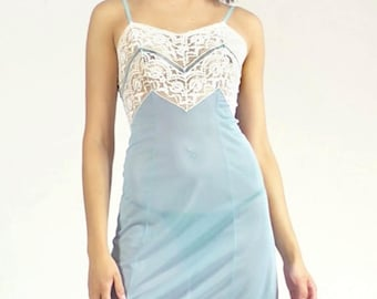 Vintage Lace Trim Baby Blue White Sheer Lightweight Sleeveless Intimates Lingerie Slip Dress