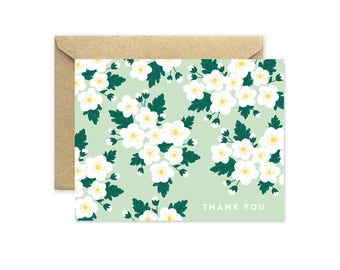 White Blossom Thank You - Greeting Card