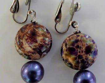 Clip-On earrings-purple earrings-gemstone earrings-semiprecious earrings-handcrafted-one-off-feminine-purple and brown